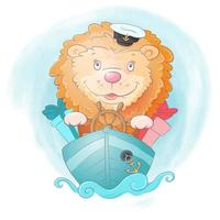 Watercolor cartoon lion ship captain