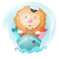 Capitán de barco de león de dibujos animados acuarela vector