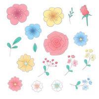 Dessin à la main dessin ensemble de fleurs et feuilles vecteur