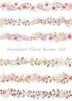 Seamless watercolor floral border set.