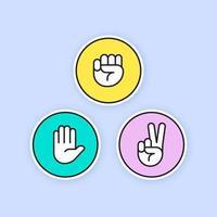 rock paper scissors line icons vetor
