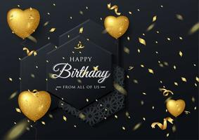 Golden Balloon birthday elegant greeting card with falling confetti