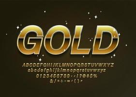 Letras do alfabeto de ouro com números e símbolos de pontuação vetor