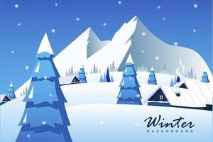 Flat winter snow illustration
