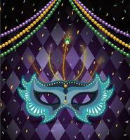 necklace balls and mask to mardi gras celebration