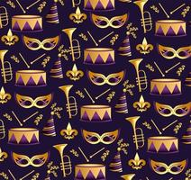 Mardi grass masks with trumpet and drum background