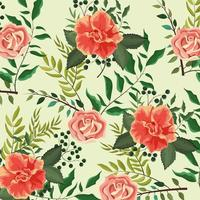 Exotic roses plants with leaves background vector