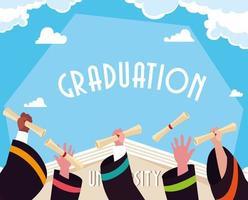 Graduation diploma in hands celebration design