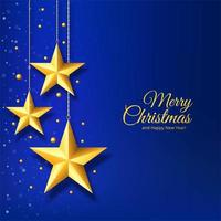 Christmas card with golden star on blue background