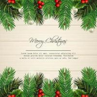 merry christmas card design with pine leaves on wood