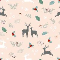 Christmas holiday seamless pattern with deer family