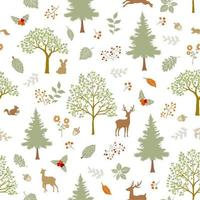 Hand drawn animal wildlife seamless pattern