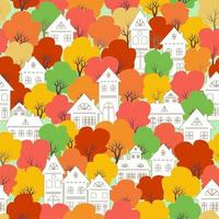 White city village on colorful autumn  seamless pattern