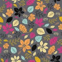 Autumn leaves seamless pattern on dark gray background
