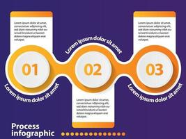 3 steps timeline infographic design element and number options.
