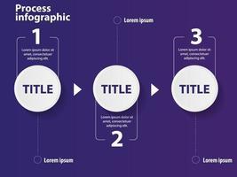 Modello di presentazione aziendale infografica con 3 passaggi.