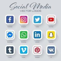 Coleção de logotipos de mídia social popular