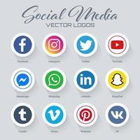 Coleção de logotipos de mídias sociais populares