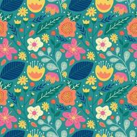 floral flower blossom and leaves seamless pattern