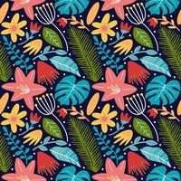 flower blossom leaves and monstera seamless pattern background