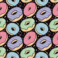 Colorful donut seamless pattern on Black