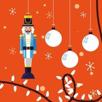 nutcracker general toy with balls of christmas vector