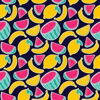 fruit lemon watermelon banana seamless pattern