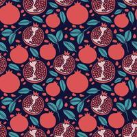 pomegranate fruit seamless pattern background vector