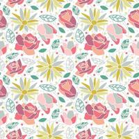 flower blossom rose daisy seamless pattern background
