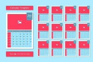 2020 calendar template set in pastel color style vector