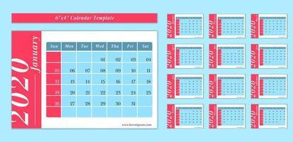 Plantilla de calendario horizontal 2020 de 6x4 pulgadas en estilo de color azul y rojo