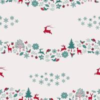 Christmas holiday seamless repeat pattern with traditional symbols