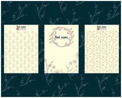 card or letter template set with floral hand drawn elements