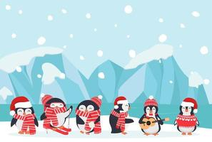 Arctic landscape with penguins in scarves and hats