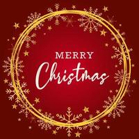 Beautiful merry christmas greating background in red and gold