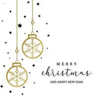 Minimal elegant merry christmas background with greeting text in black and white