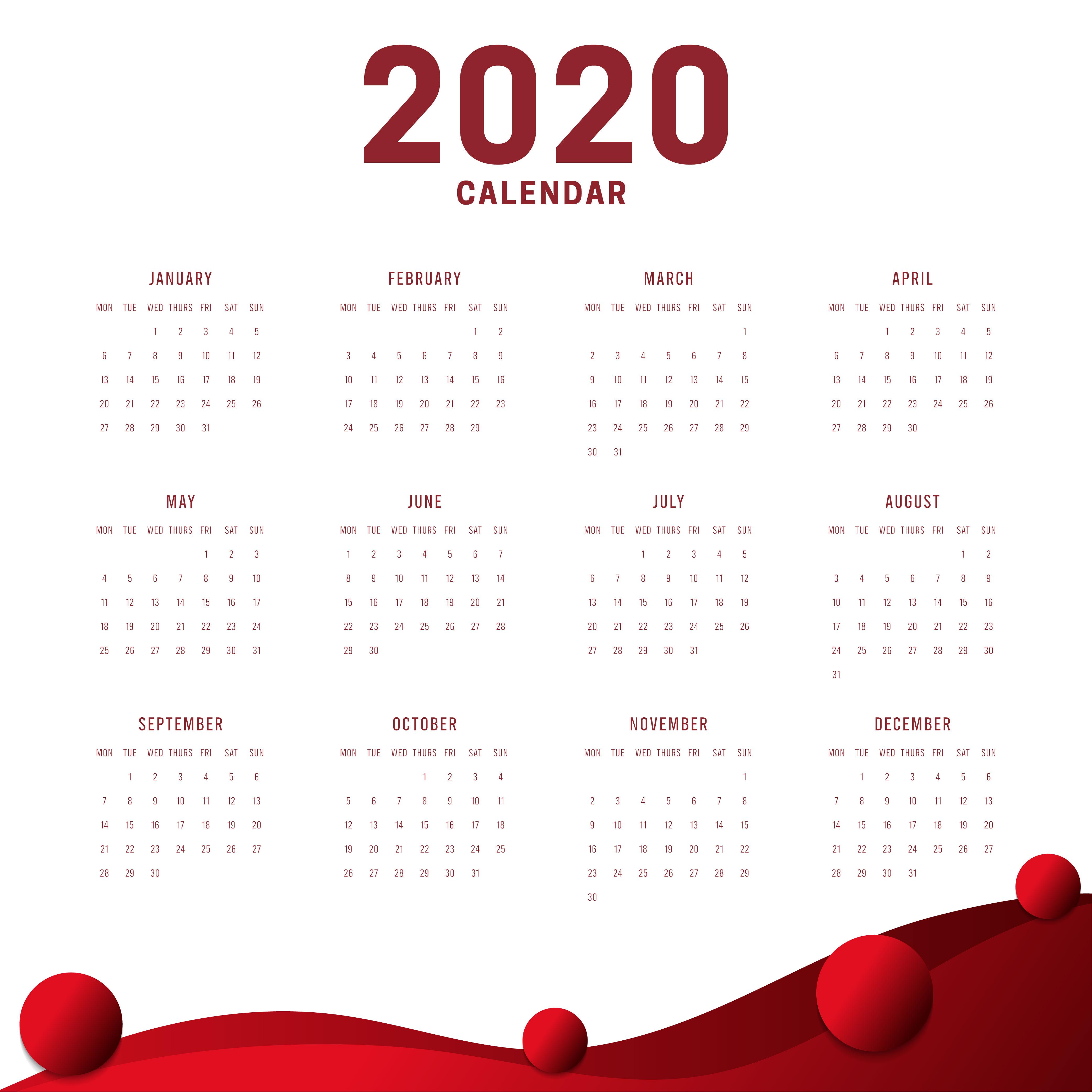 Calendario Minimo Ano Novo 2020 Fundo Branco Vermelho Download