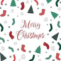 Cute christmas graphic elements with greeting background