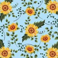 exotic sunflowers plants with branches background vector