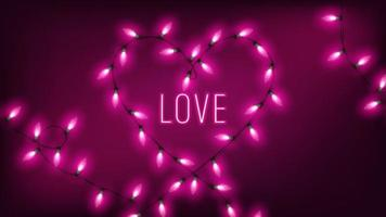 fairy lights in heart shape with neon love text