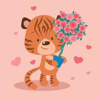 Cartoon tiger with a topiary in a pot of roses vector