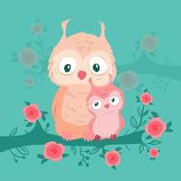 Cartoon owl mom and baby on a branch with roses