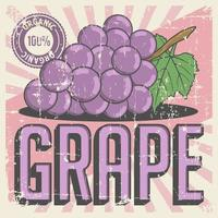 Grape Vintage Retro Signage Vector