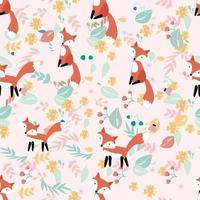 Leuke vos in bloem en verlaat naadloos patroon