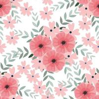 Vintage Light blue and pink wild flower and leaf seamless pattern