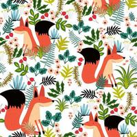 Cute fox and green leave seamless pattern vector