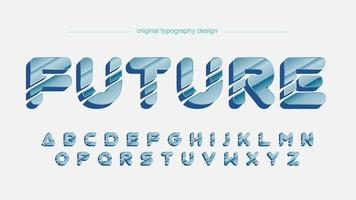 Blue Futuristic Chrome Rounded Artistic Font vector