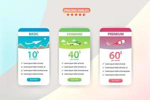 Pricing Table Set with 3 Different Planes  vector