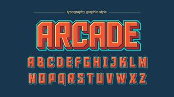 Retro Red Squared Artistic Font vector