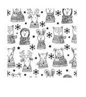 Set with Winter Animals seamless pattern.	 vector
